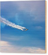 Jetfighter With Smoke Trail. Wood Print