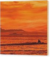 Jetski Ride Into The Sunset Wood Print