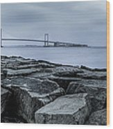 Jetty At Fort Totten Wood Print