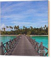 Jetty On Tropical Island Wood Print