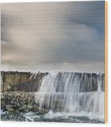 Jetty Spillover Waterfall Wood Print