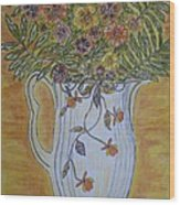 Jewel Tea Pitcher With Marigolds Wood Print