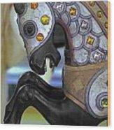 Jeweled Carousel Prancing Horse Wood Print