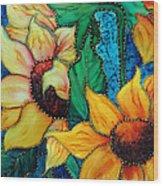 Jeweled Sassy Sunflowers Wood Print