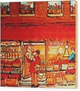 Jewish Culture In Montreal Paintings Of Warshaw's Fruit Store On St.lawrence Street Scene Art  Wood Print
