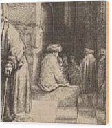 Jews In The Synagogue Wood Print