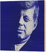 Jfk - Blue Wood Print