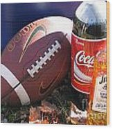 Jim Beam Coke And Football Wood Print
