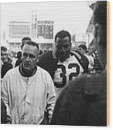 Jim Brown The Great Leaving The Field Wood Print by Retro Images Archive