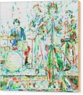 Jim Morrison And The Doors Live On Stage- Watercolor Portrait Wood Print