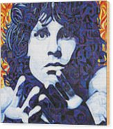 Jim Morrison Chuck Close Style Wood Print