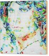 Jim Morrison Watercolor Portrait.5 Wood Print