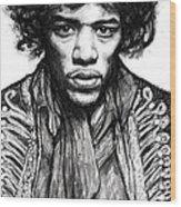 Jimi Hendrix Art Drawing Sketch Portrait Wood Print