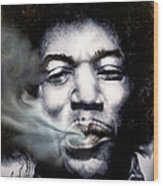 Jimi Hendrix-burning Lights-2 Wood Print by Reggie Duffie