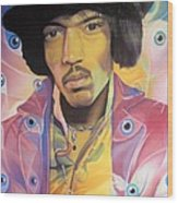 Jimi Hendrix Eyes Wood Print