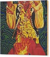 Jimi Hendrix Fire Wood Print
