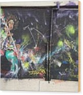 Jimi Hendrix Mural Wood Print by Erik Franco