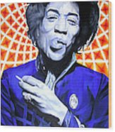 Jimi Hendrix Orange And Blue Wood Print