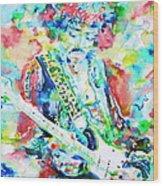 Jimi Hendrix Playing The Guitar.2 -watercolor Portrait Wood Print