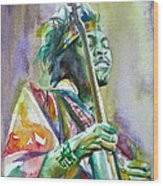 Jimi Hendrix Playing The Guitar.5 -watercolor Portrait Wood Print