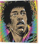 Jimi Hendrix Pop Art Wood Print