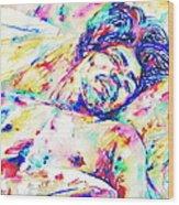 Jimi Hendrix Sleeping - Watercolor Portrait Wood Print
