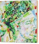 Jimi Hendrix  - Watercolor Portrait.4 Wood Print