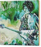 Jimi Hendrix With Guitar Wood Print