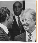 Jimmy Carter And Anwar Sadat 1980 Wood Print