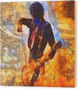 Jimmy Page Playing Guitar With Bow Wood Print