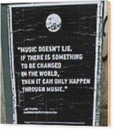Jimy Hendrix Music Doesn't Lie Wood Print