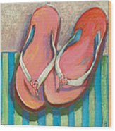 Pink Flip Flops Wood Print