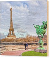 Joan Of Arc And The Eiffel Tower Wood Print