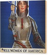 Joan Of Arc War Stamps Poster 1918 Wood Print