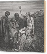 Job And His Friends Wood Print by Gustave Dore