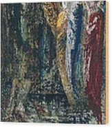 Job And The Angels Wood Print by Gustave Moreau