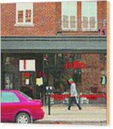 Joblo Restaurant Steakhouse Rue Wellington Verdun Montreal Cafe City Scenes Carole Spandau Wood Print