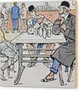 Jockey And Trainers In The Bar Wood Print