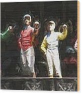 Jockeys In A Row Wood Print