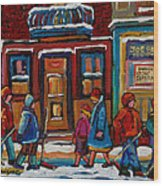 Joe Beef Restaurant And Boys With Hockey Sticks Wood Print
