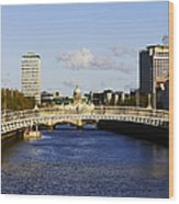 Joe Fox Fine Art - Hapenny Liffey Bridge Over The River Liffey In Central Dublin Ireland Wood Print
