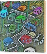 Joes Happy Trailer Park Wood Print by Joseph Hawkins