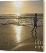 Jogging At Sunrise By Kaye Menner Wood Print
