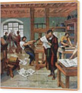 Johann Gutenberg's Printing Press Wood Print