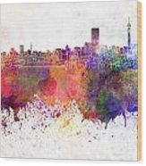 Johannesburg Skyline In Watercolor Background Wood Print