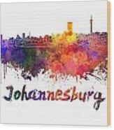Johannesburg Skyline In Watercolor Wood Print