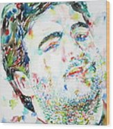 John Belushi Smoking - Watercolor Portrait Wood Print