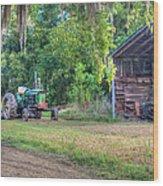 John Deere - Old Tractor Shed Wood Print