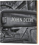 John Deere Tractor Bw Wood Print by Susan Candelario