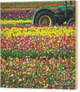 John Deere Tulips Wood Print